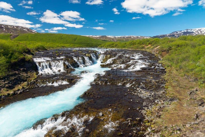 La cascada de Bruarfoss en Islandia foto de archivo libre de regalías