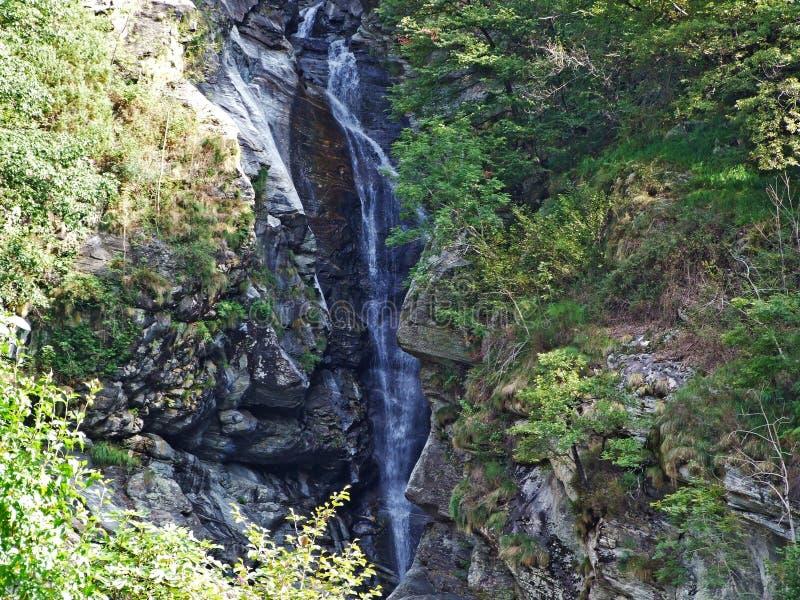 La cascada de Giumaglio o cascata di Giumaglio del La en Vallemaggia, valle mágico o Valle Magia Valle Maggia imagen de archivo