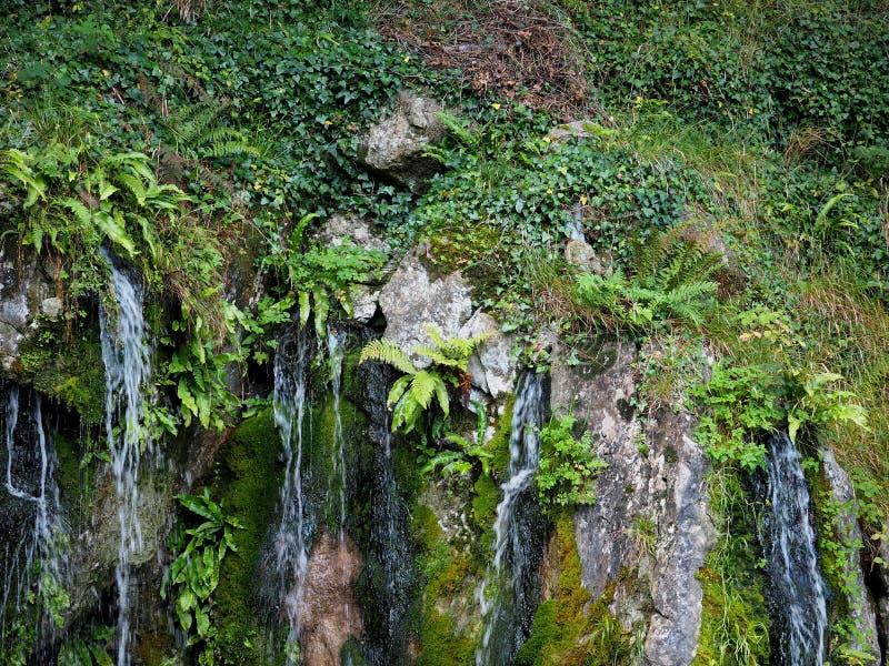 La cascada en el castillo de la lisonja pone a tierra Irlanda imagenes de archivo