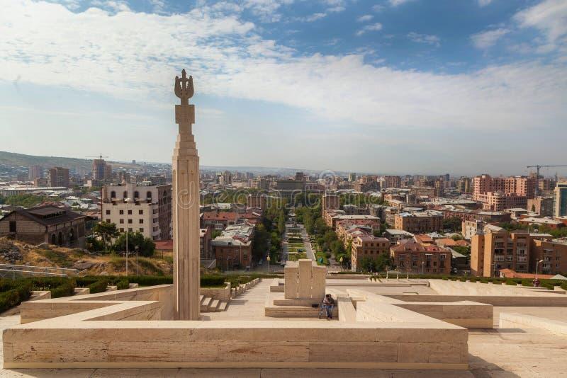 La cascada en Ereván imagenes de archivo