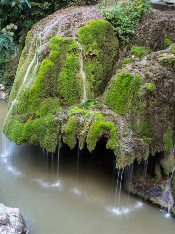 La cascada hermosa unic de Bigar por completo del musgo verde imagen de archivo