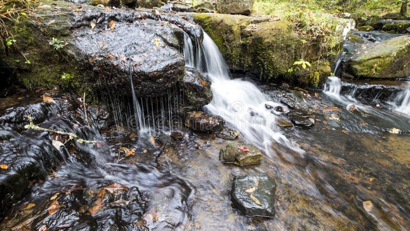 La cascada a lo largo de Collins Creek en Herber salta Arkansas fotografía de archivo libre de regalías