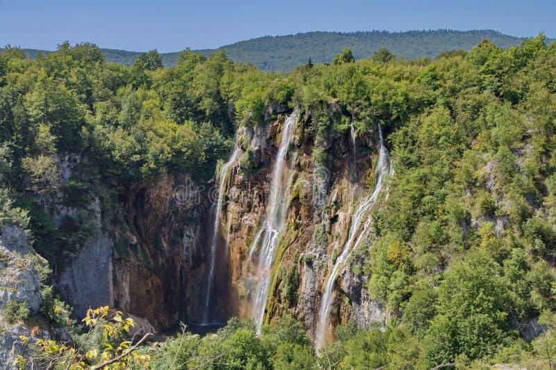 La cascada más bigest (palmada de Veliki) en los lagos Pltvice imagen de archivo