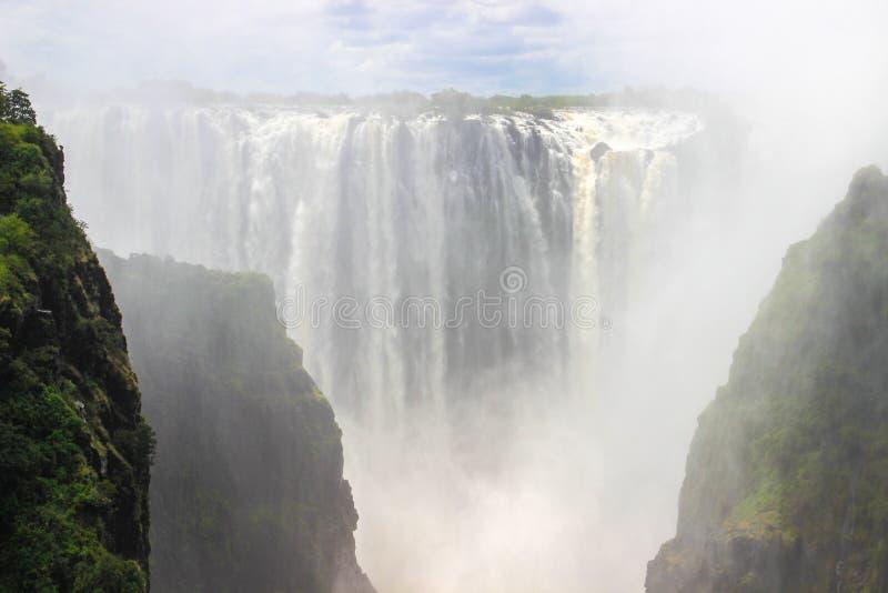 La cascada más grande del mundo es Victoria fotografía de archivo