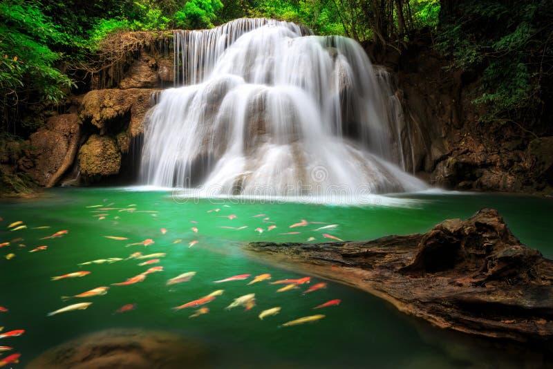 La cascade à écriture ligne par ligne de Huai Mae Khamin, Thaïlande photos stock