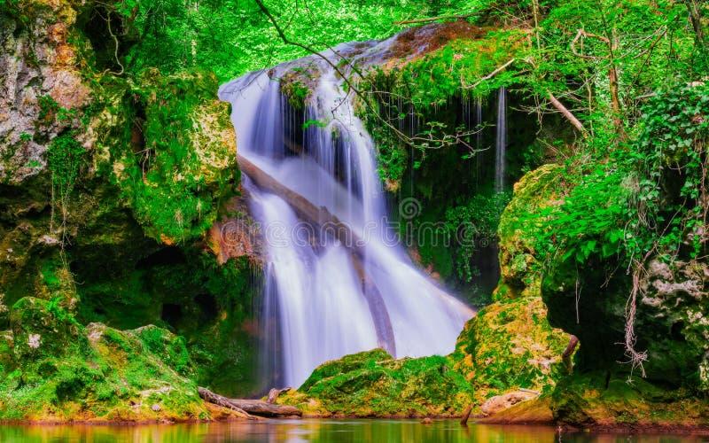 La cascade de Vaioaga de La a rencontré le trekking de moment sur des gorges de Nera pendant l'été, Roumanie photos libres de droits