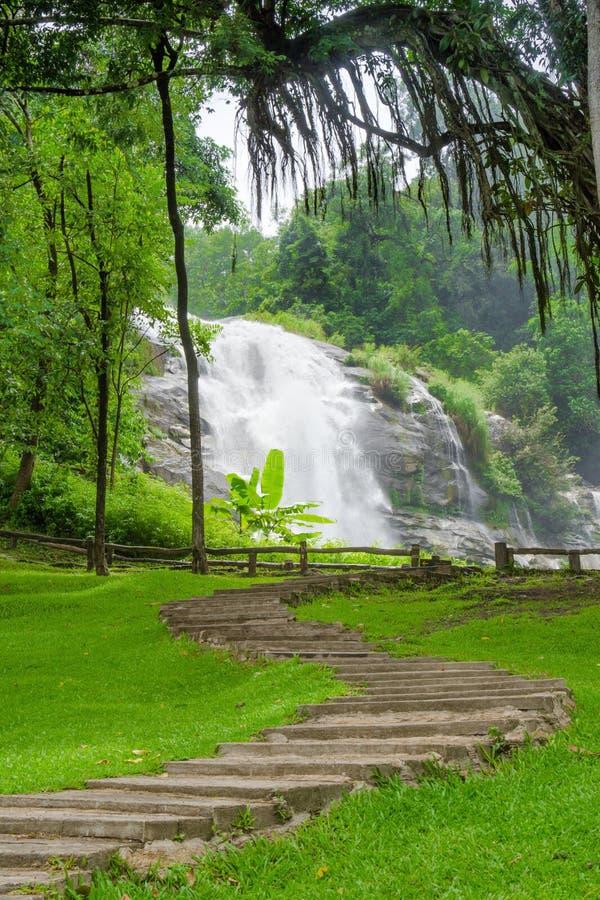 La cascade de Wachirathan est la meilleure cascade de chiangmai au doi international photo libre de droits
