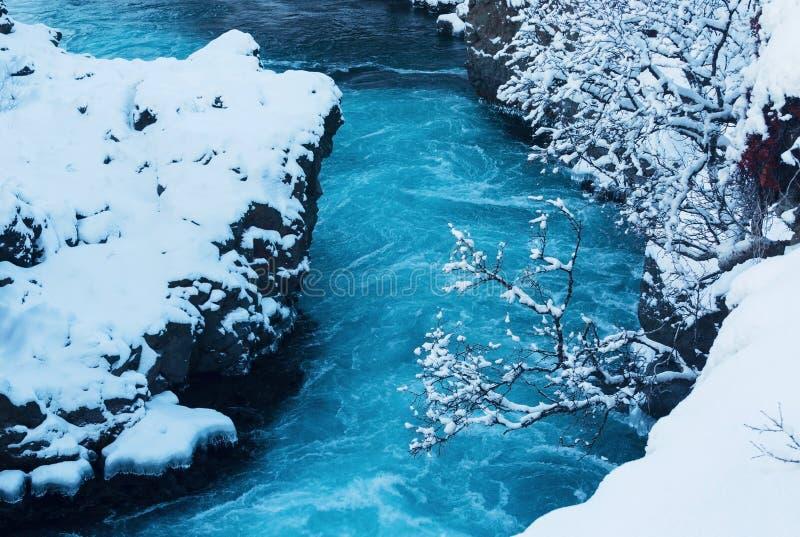 La cascade Hraunfossar photographie stock