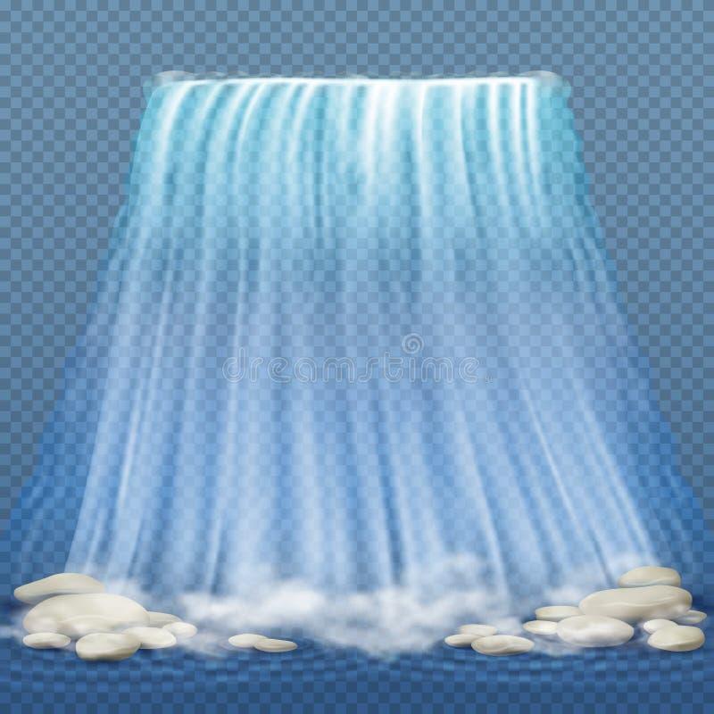 La cascade réaliste avec de l'eau l'eau propre bleue et les pierres, rapide de l'eau dirigent l'illustration illustration de vecteur
