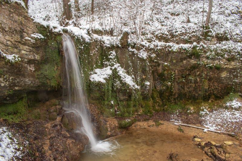 La cascata di Linn nella foresta innevata nell'inverno Preso vicino a Linn, la Svizzera, nel cantone di Argovia immagini stock