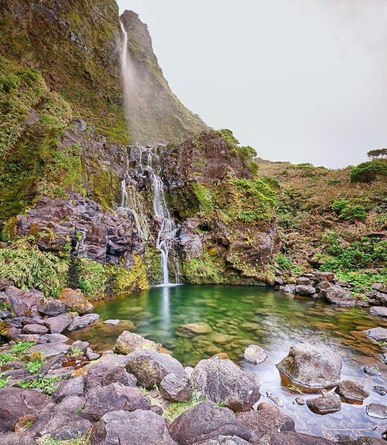 La cascata Poco fa Bacalhau all'isola delle Azzorre del Flores immagini stock