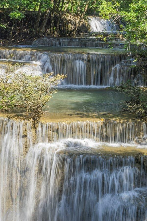 La cascata pulita là è un colore di verde smeraldo causato dalle riflessioni dagli alberi e dal lichene che circolano con il gial fotografia stock