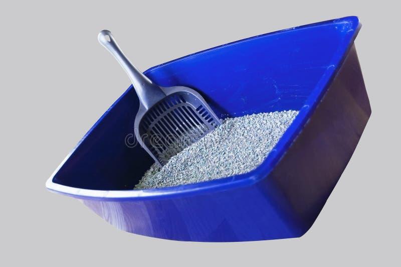 La casella di gatto blu con il disordine include il percorso di residuo della potatura meccanica fotografie stock libere da diritti