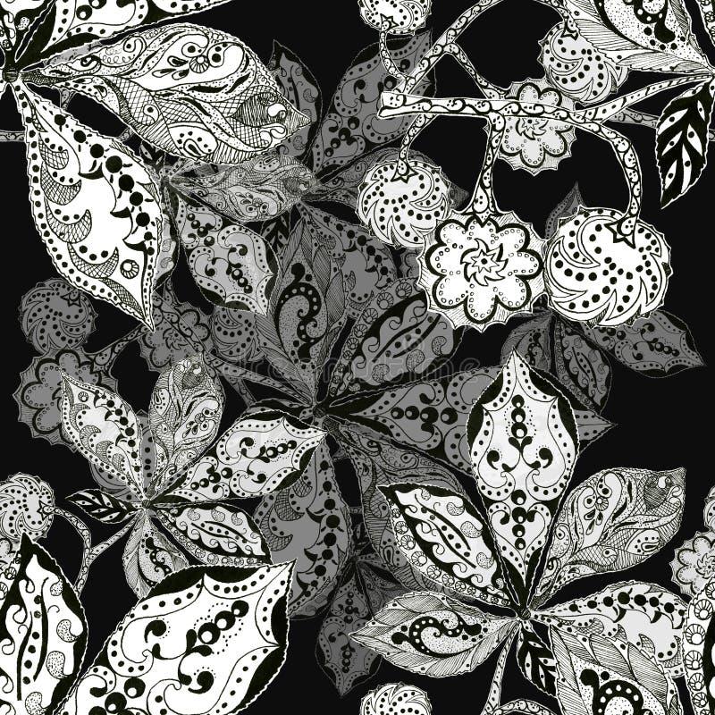 Download La Castagna Della Foglia, La Siluetta, L'inchiostro, La Penna, Monocromio, Modella Senza Cuciture Illustrazione di Stock - Illustrazione di monocromatico, illustrazione: 55362307