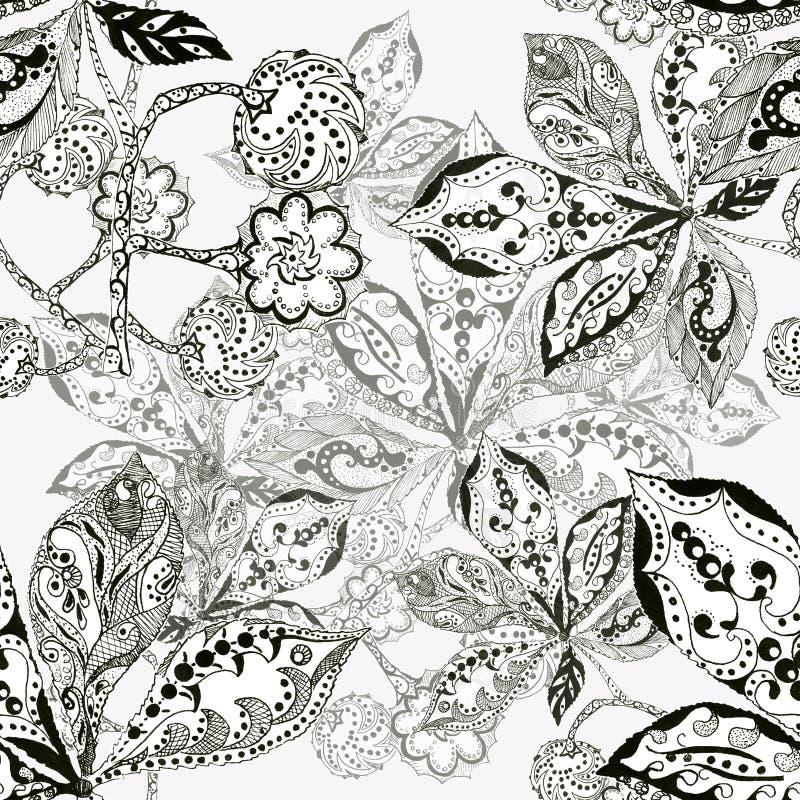 Download La Castagna Della Foglia, La Siluetta, L'inchiostro, La Penna, Monocromio, Modella Senza Cuciture Illustrazione di Stock - Illustrazione di decorazioni, background: 55362340