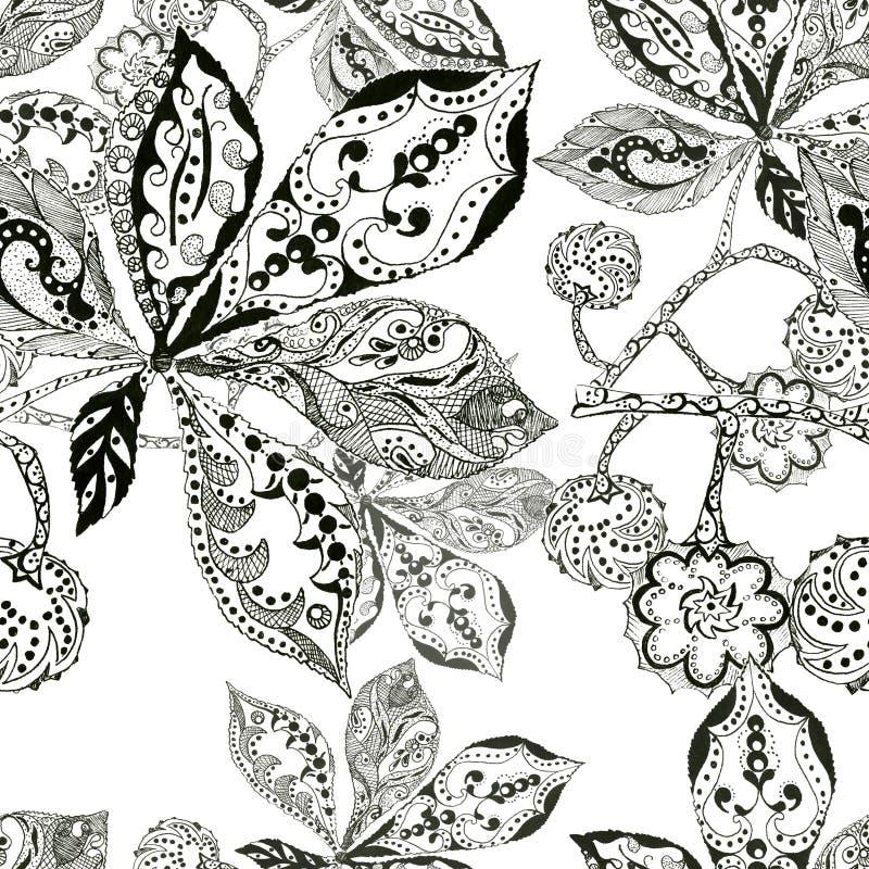 Download La Castagna Della Foglia, La Siluetta, L'inchiostro, La Penna, Monocromio, Modella Senza Cuciture Illustrazione di Stock - Illustrazione di decorazioni, immagine: 55362365