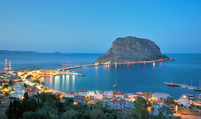 La castello-città di Monemvasia in Lakonia, Grecia fotografia stock