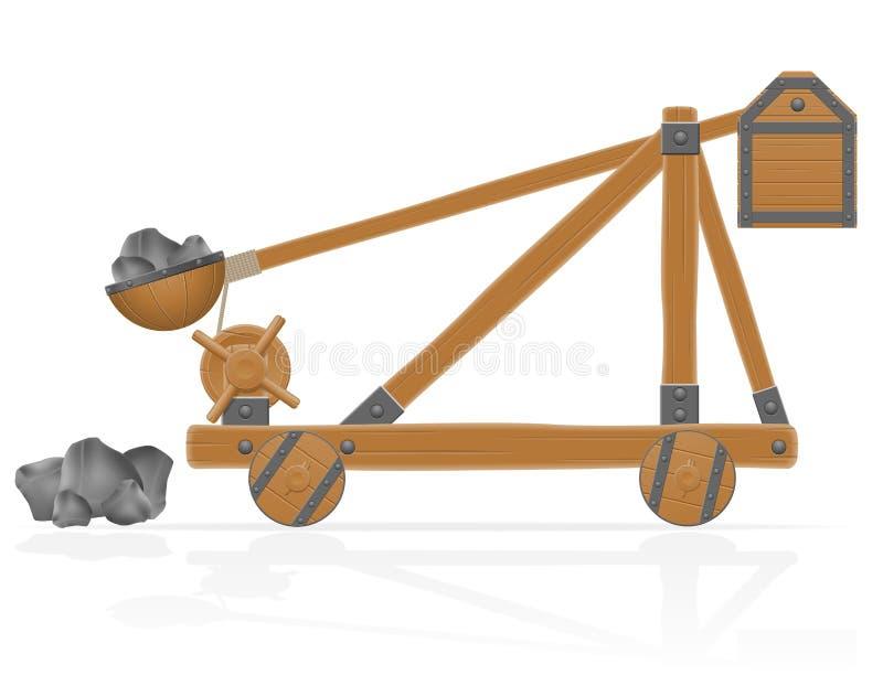 La catapulta de madera vieja cargada empiedra el ejemplo del vector ilustración del vector