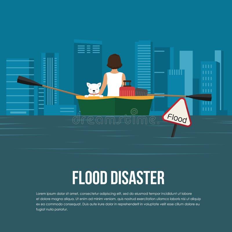 La catastrophe d'inondation avec la bannière d'avertissement d'inondation, la femme et le chien sur le bateau dans le vecteur d'e illustration libre de droits