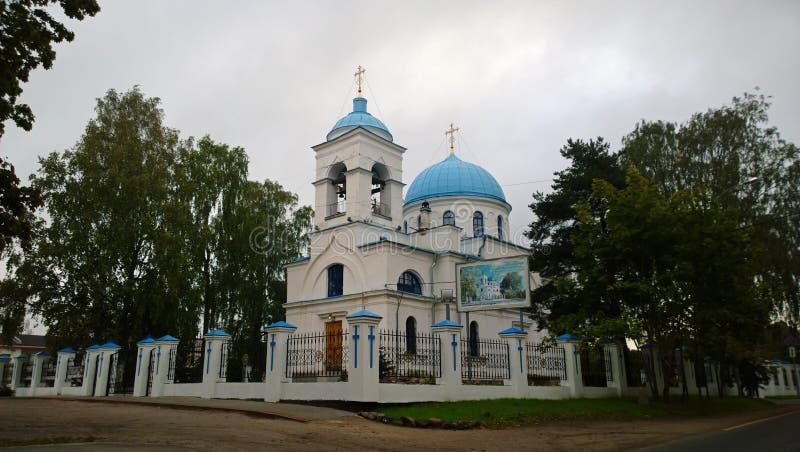 La catedral de la natividad de la Virgen María bendecida en Priozersk fotos de archivo