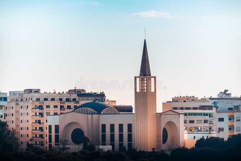 La catedral de nuestra señora Asuncion de Tánger Marruecos fotografía de archivo libre de regalías