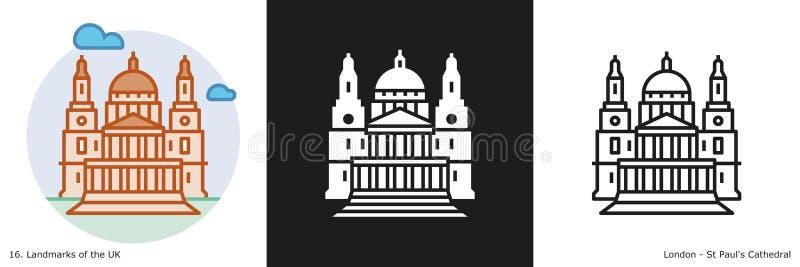 La catedral de San Pablo, ejemplo de Londres, Inglaterra ilustración del vector