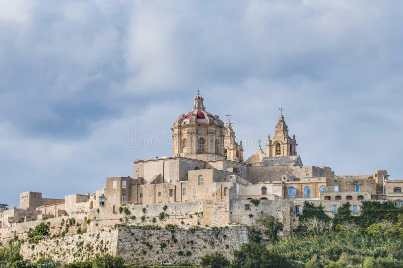 La catedral de San Pablo en Mdina, Malta imagen de archivo libre de regalías
