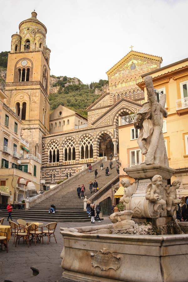 La catedral de St Andrew Amalfi Italia imagen de archivo