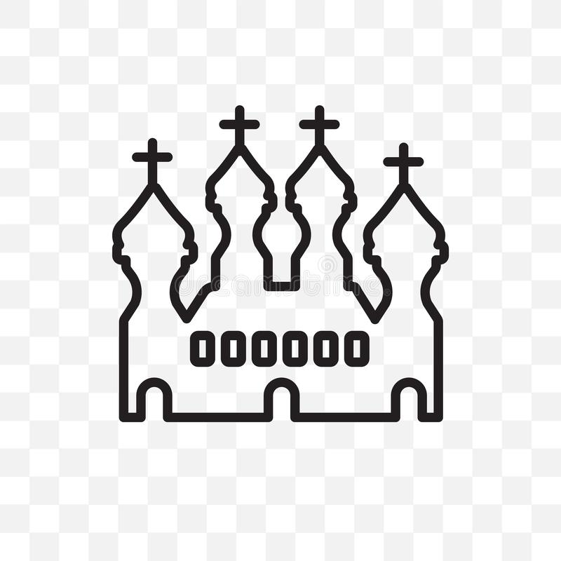La catedral del icono linear del vector de la albahaca del santo aislado en fondo transparente, catedral del concepto de la trans stock de ilustración