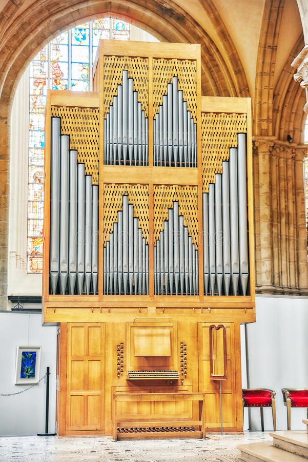 La catedral interior de San Miguel y de St Gudula es Roman Catho foto de archivo libre de regalías