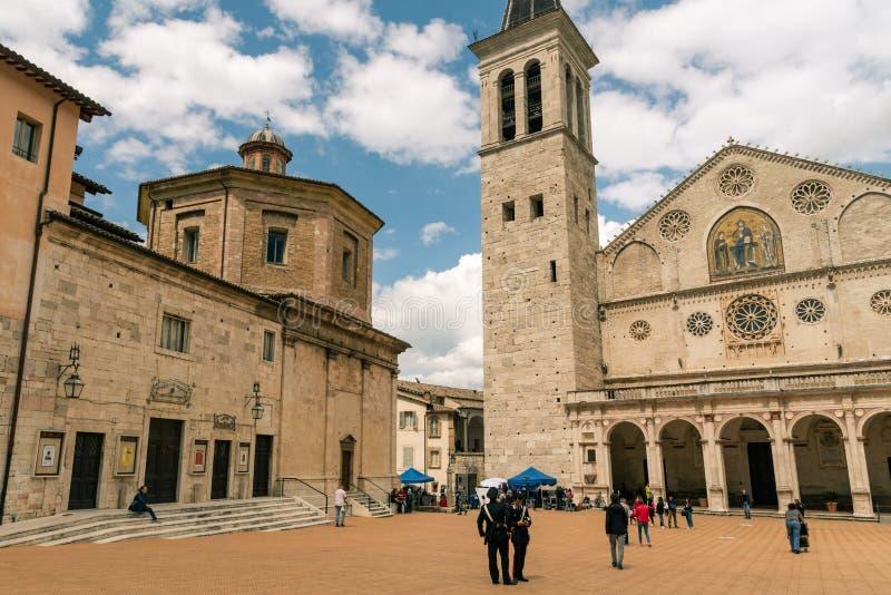 La catedral medieval de Santa Maria Assunta, Spoleto Umbria Italy imagen de archivo libre de regalías