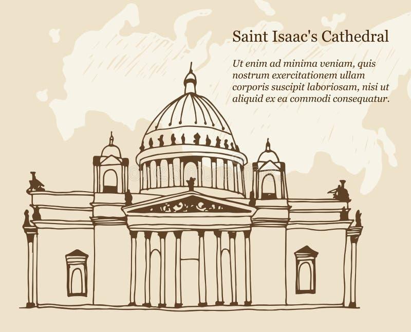La catedral Sobor de Isaac del santo en ejemplo de St Petersburg, Rusia en un fondo beige ilustración del vector