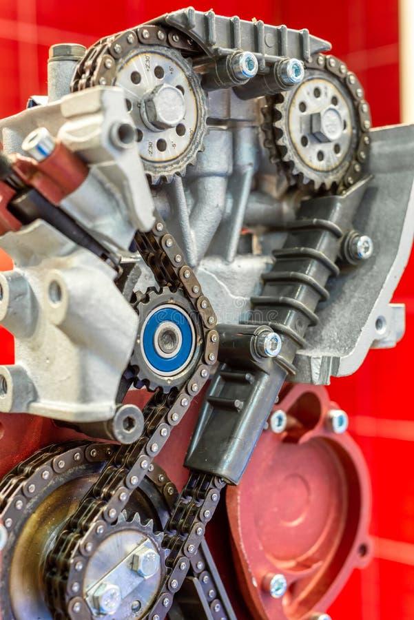 La catena di sincronizzazione dell'azionamento del motore a combustione interna fotografie stock libere da diritti