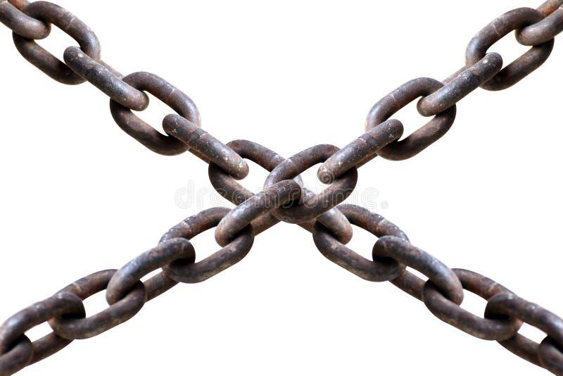 La catena vecchia su fondo bianco, catene attraversa il concetto del più dell'imprigionamento, l'incarcerazione, fuoco selettivo  immagine stock libera da diritti