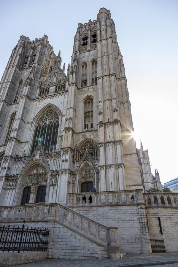 La cathédrale actuelle de St John le siècle de Baptist Michael et de St Gudula XVI à Bruxelles image stock