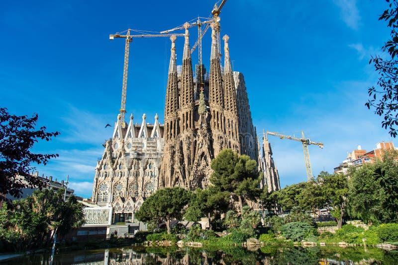 La cathédrale de la La Sagrada Familia par l'architecte Antonio Gaudi, Catalogne, Barcelone Espagne - 14 mai 2018 images stock