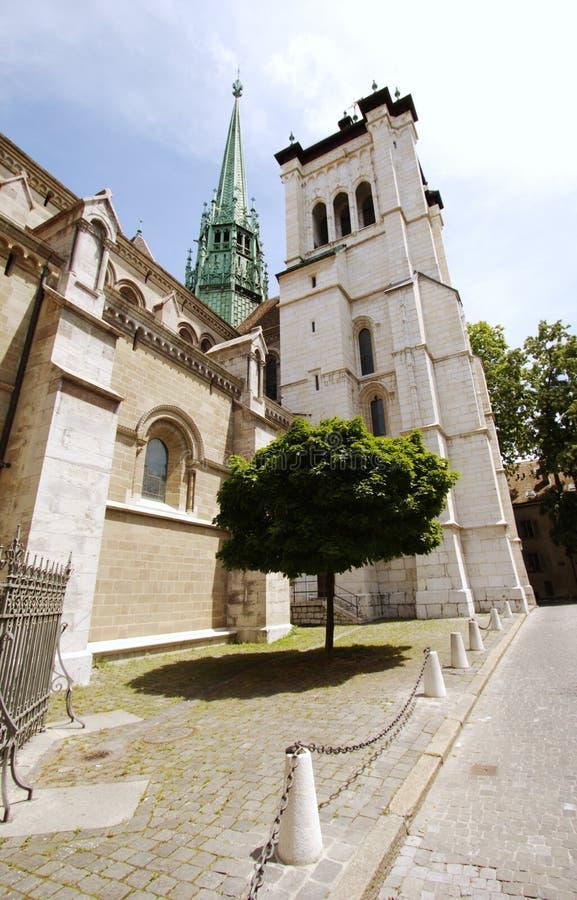 La cathédrale de Saint-Peter à Genève, Suisse photos libres de droits