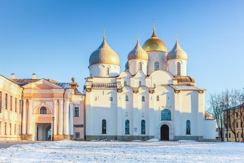 La cathédrale de St Sophia dans le Novgorod Kremlin, Veliky Novg images stock