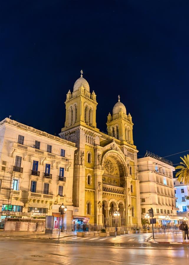 La cathédrale de St Vincent de Paul à Tunis, Tunisie image libre de droits