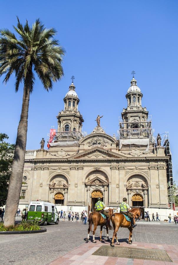 La cathédrale métropolitaine de Santiago, piment images libres de droits