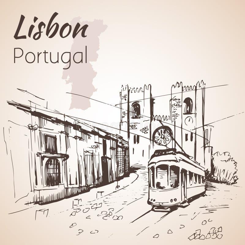La cathédrale patriarcale de St Mary Major ou de cathédrale de Lisbonne illustration libre de droits