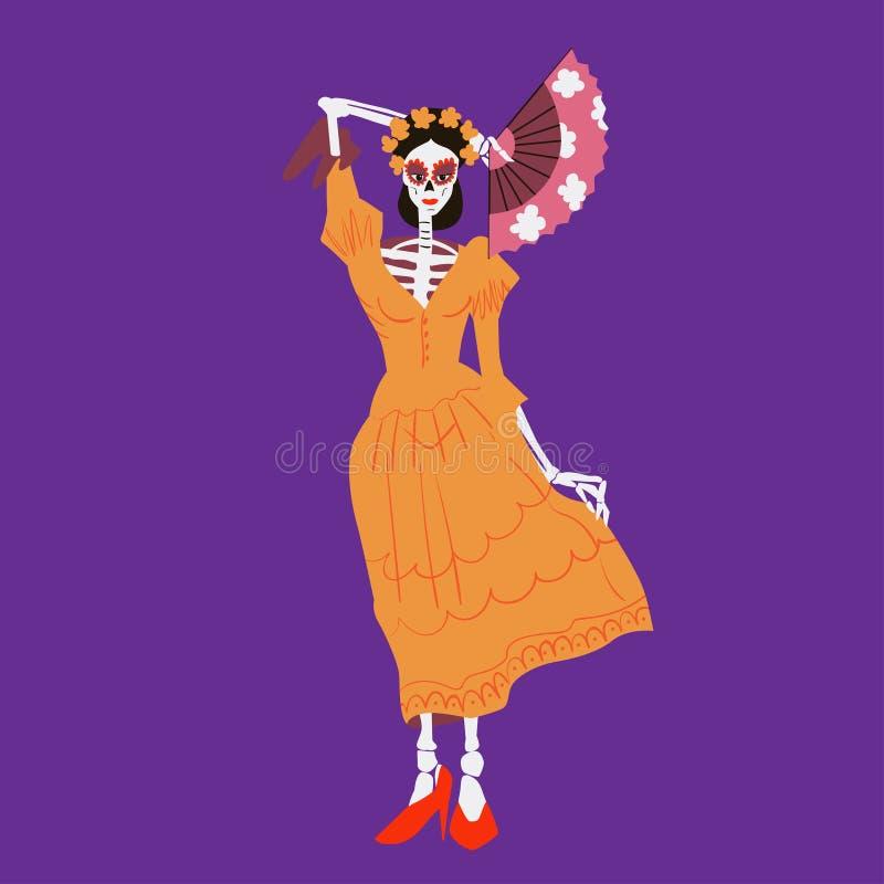 La Catrina Carácter esquelético con la fan El diámetro de los muertos o Halloween aisló el ejemplo del vector stock de ilustración
