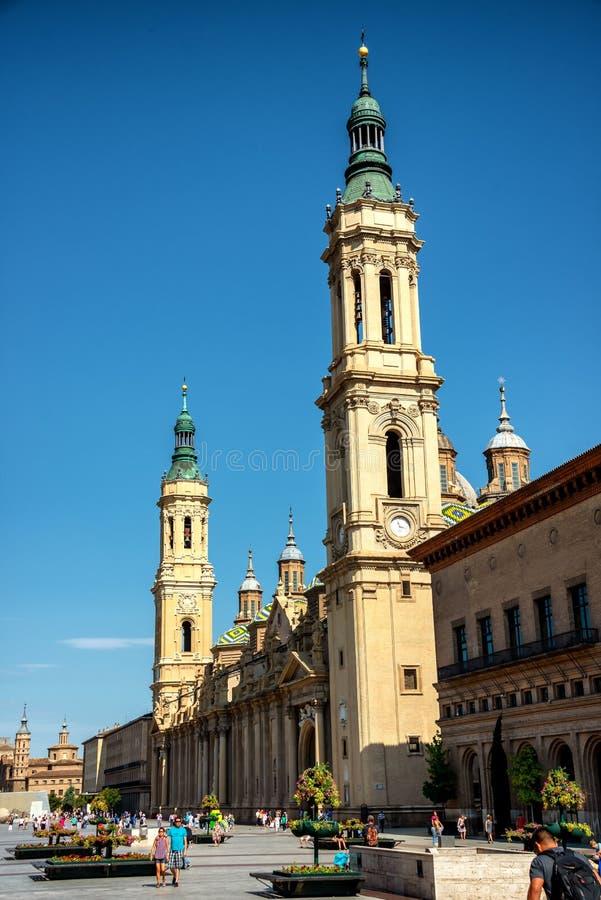 La cattedrale Basilica del Pilar a Saragozza immagine stock libera da diritti