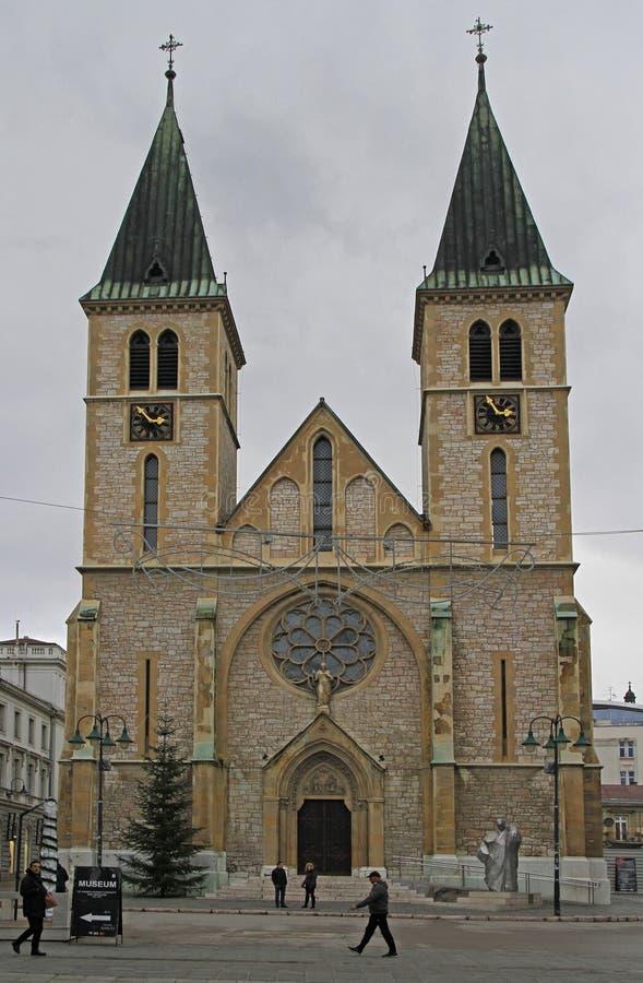 La cattedrale del cuore sacro a Sarajevo fotografie stock