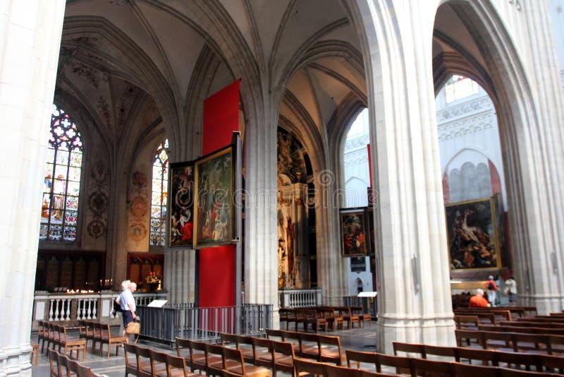 La cattedrale della nostra signora a Anversa, Belgio fotografie stock libere da diritti