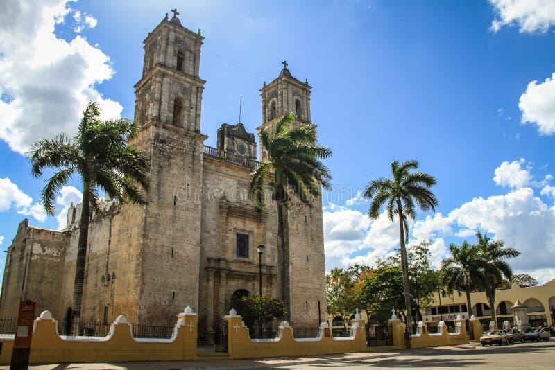 La cattedrale della nostra signora del Assumptio santo, Valladolid, Yucatan, Messico immagine stock libera da diritti
