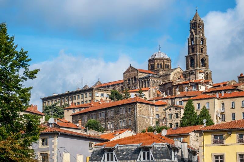 La cattedrale di Le Puy-en-Velay, Francia fotografia stock libera da diritti