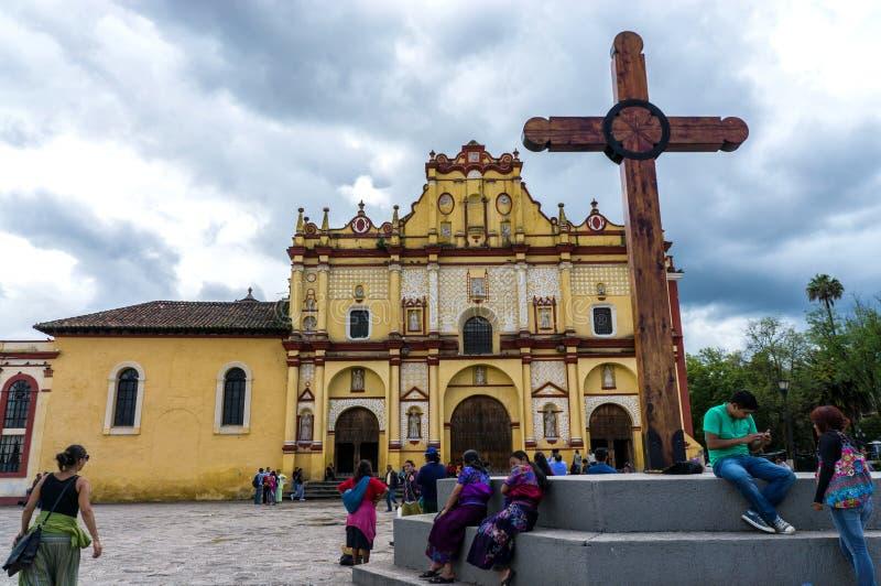 La cattedrale di San Cristobal de Las Casas, Messico fotografie stock libere da diritti