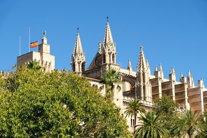 La cattedrale di Santa Maria di Palma de Mallorca, Spagna fotografie stock libere da diritti