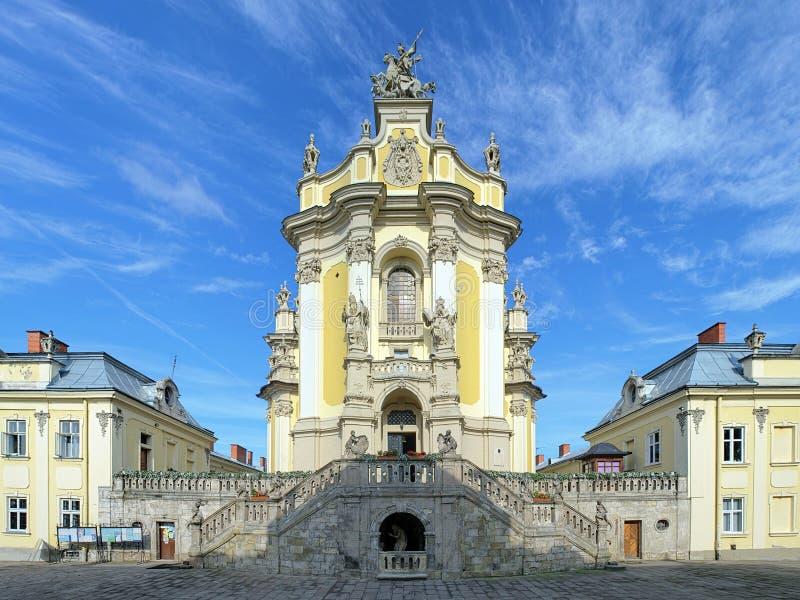 La cattedrale di St George a Leopoli, Ucraina immagini stock